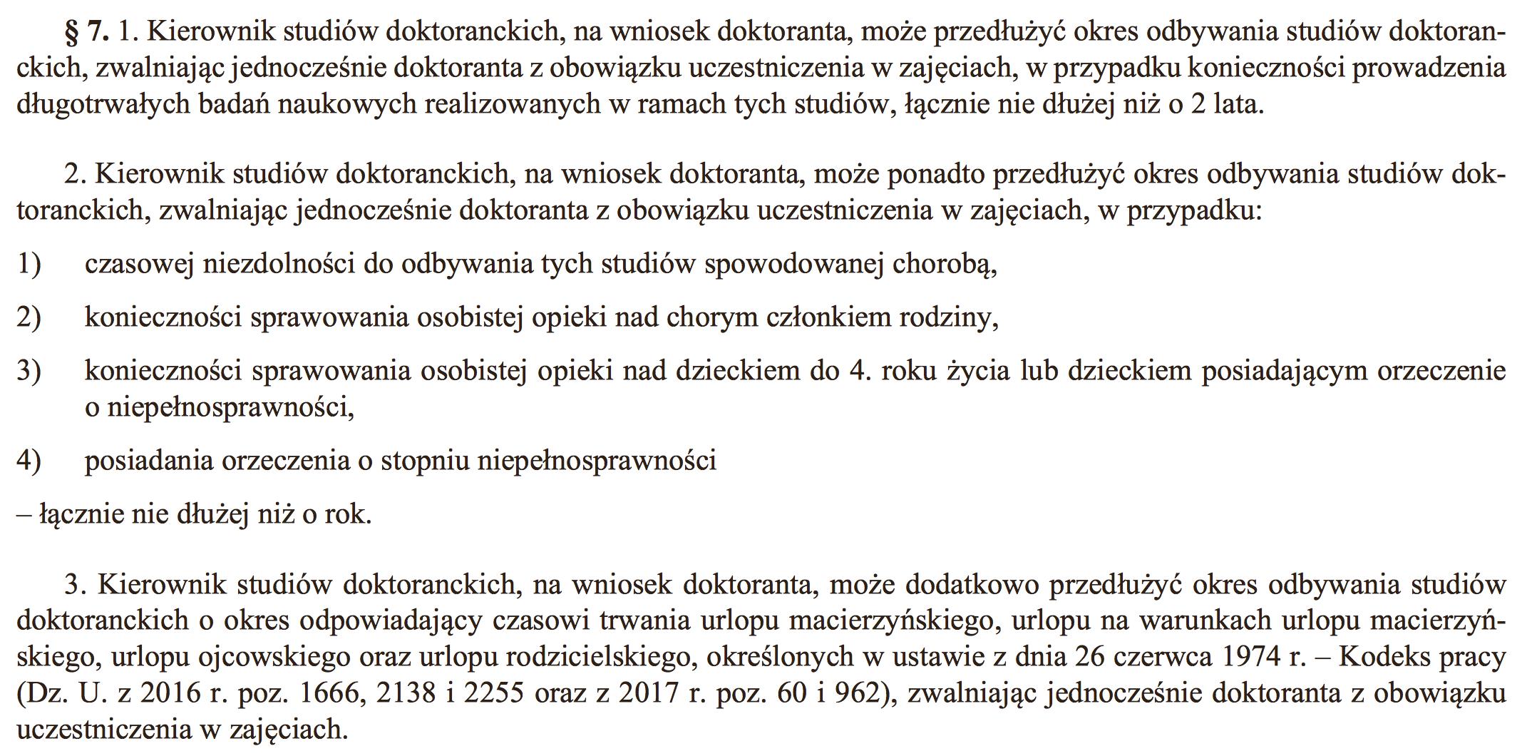 urlop macierzyński doktorat